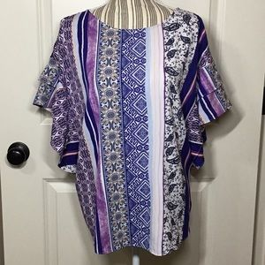 Chico's Petite Mixed-Print Flutter-Sleeve Top